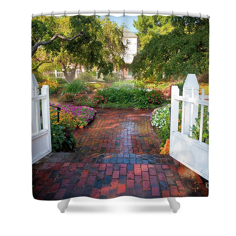 August Shower Curtain featuring the photograph Garden Gate by Susan Cole Kelly