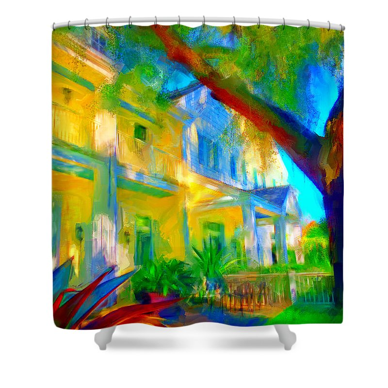 House Shower Curtain featuring the digital art Garden House by Nancy Faircloth