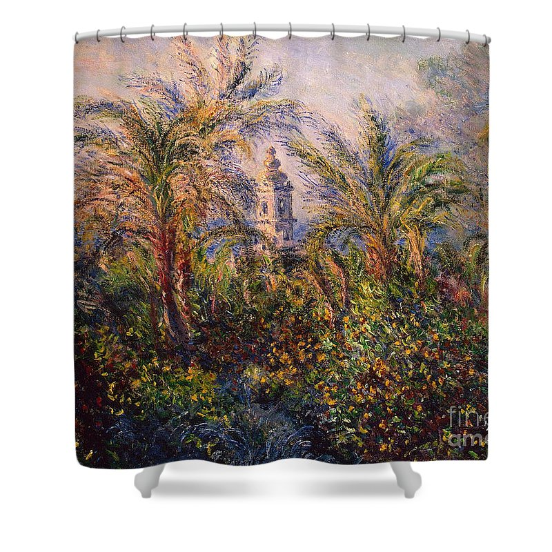 Garden Shower Curtain featuring the painting Garden In Bordighera Impression Of Morning by Claude Monet