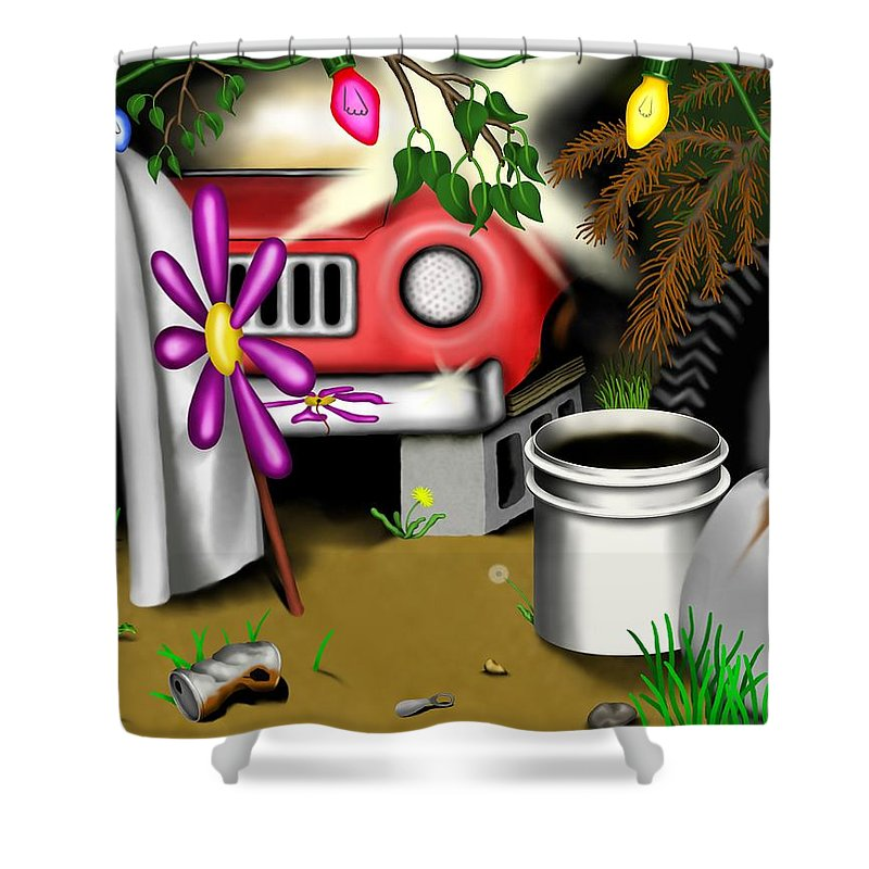 Surrealism Shower Curtain featuring the digital art Garden Landscape I - Into The Trailorpark by Robert Morin