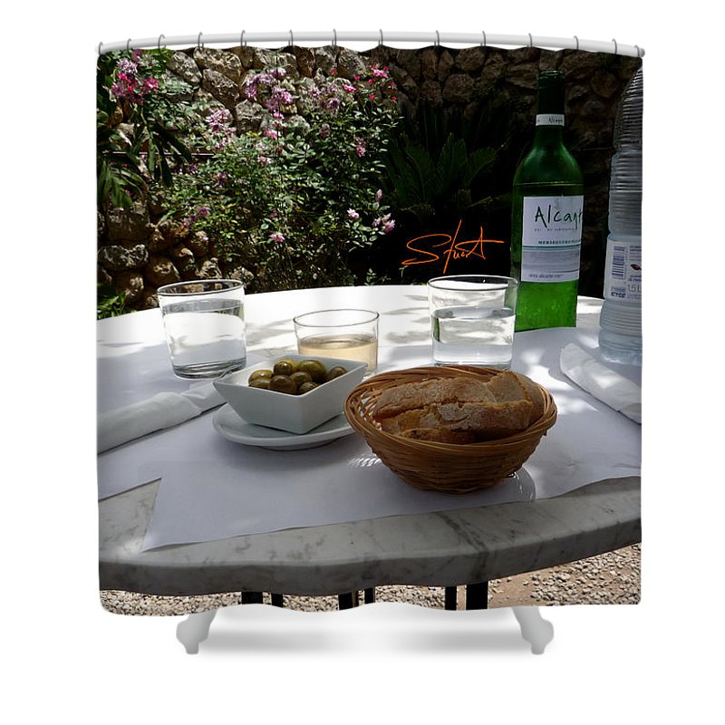 Lunch Shower Curtain featuring the photograph Garden Lunch Mallorca by Charles Stuart