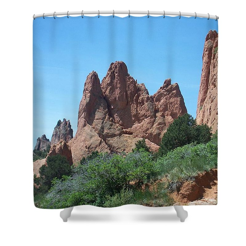 Colorado Shower Curtain featuring the photograph Garden Of The Gods 2 by Anita Burgermeister