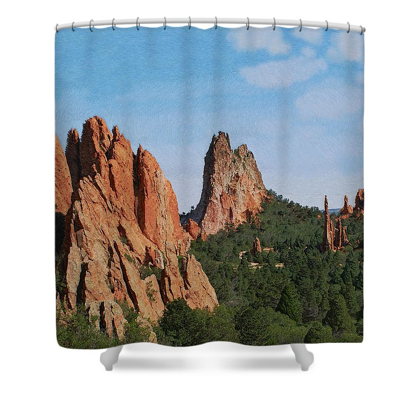 Colorado Shower Curtain featuring the photograph Garden Of The Gods Colorado De by Ernie Echols
