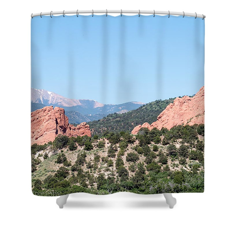 Landscape Shower Curtain featuring the photograph Garden Of The Gods by Tonja Whittier