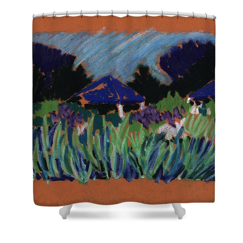Iris Shower Curtain featuring the pastel Garden Party by Rodger Ellingson