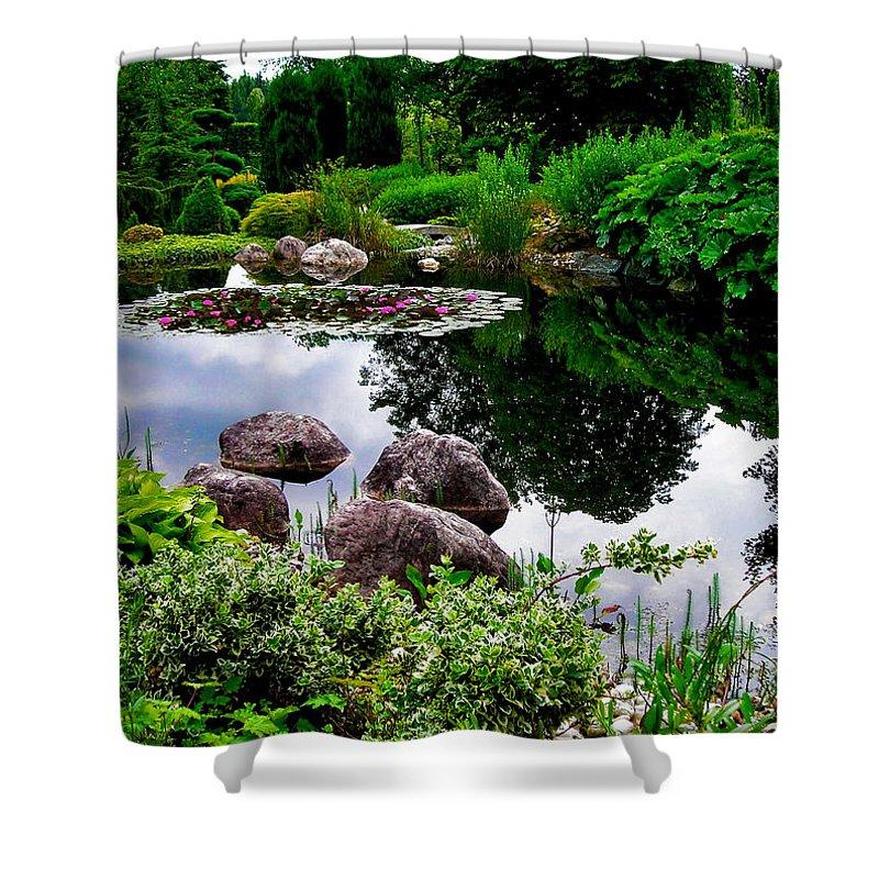 Garden Shower Curtain featuring the photograph Garden Reflections ... by Juergen Weiss