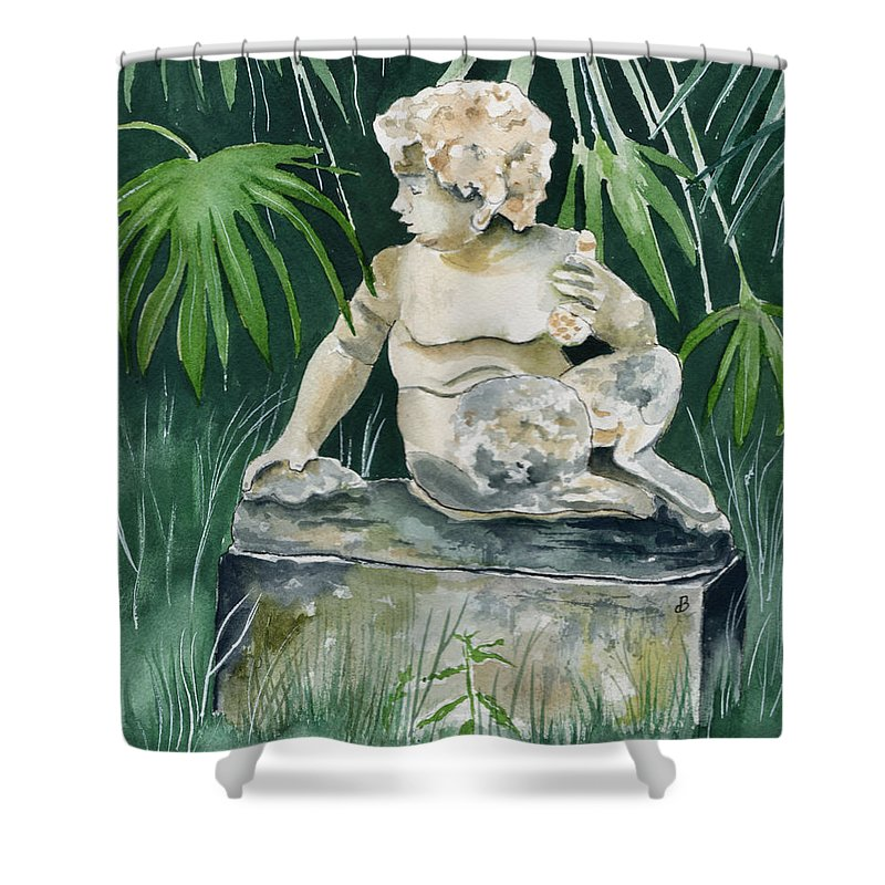 Watercolor Shower Curtain featuring the painting Garden Satyr by Brenda Owen
