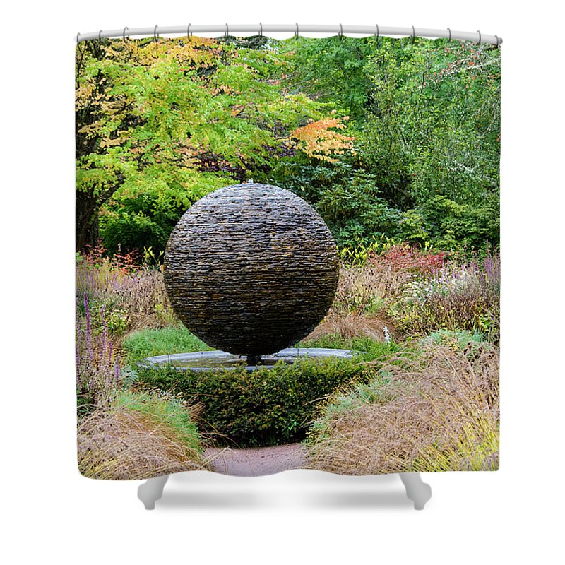 Cawdor Castle Shower Curtain featuring the photograph Garden Water Feature by Bob Phillips