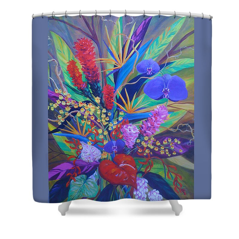 Anthuriums Shower Curtain featuring the painting Gardner Tropicals by Anne Marie Brown