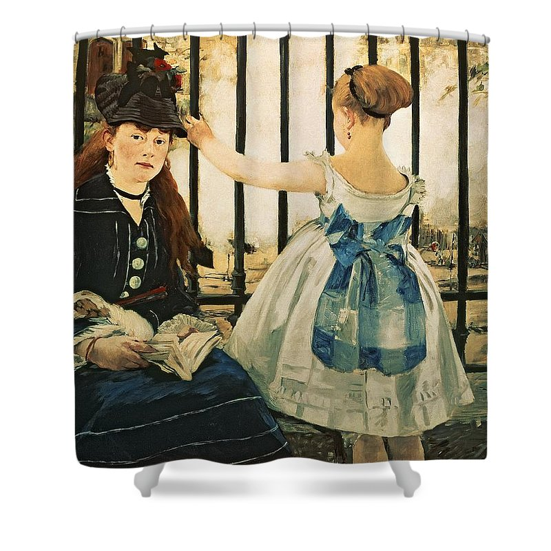 Railings Shower Curtain featuring the painting Gare St Lazare by Edouard Manet