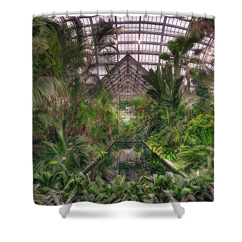 Greenhouse Shower Curtain featuring the photograph Garfield Park Conservatory Reflecting Pool by Steve Gadomski