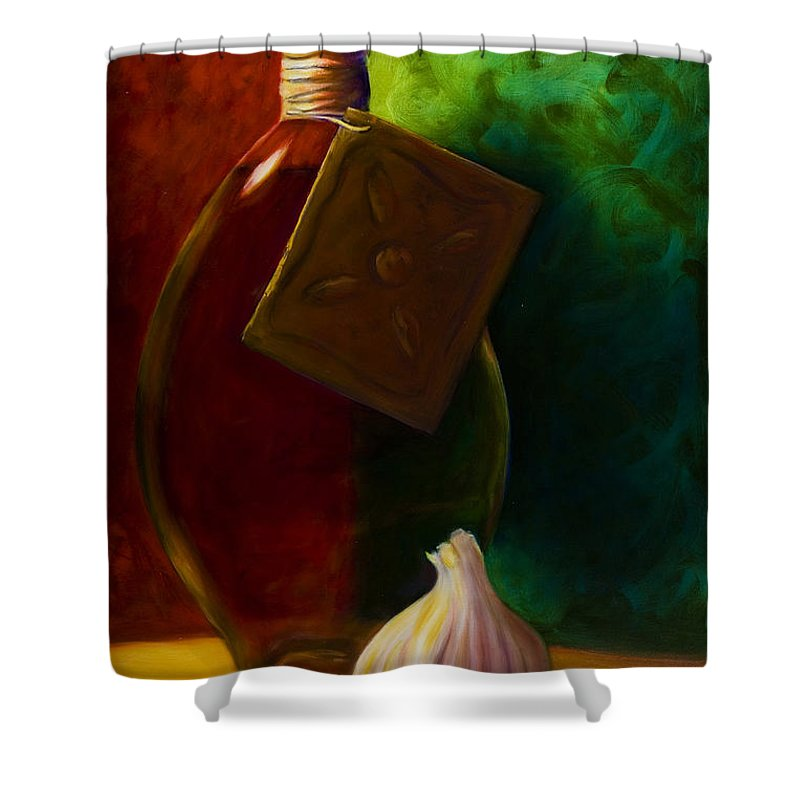 Shannon Grissom Shower Curtain featuring the painting Garlic And Oil by Shannon Grissom
