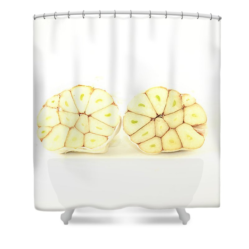 Garlic Shower Curtain featuring the photograph Garlic Isolated by D R
