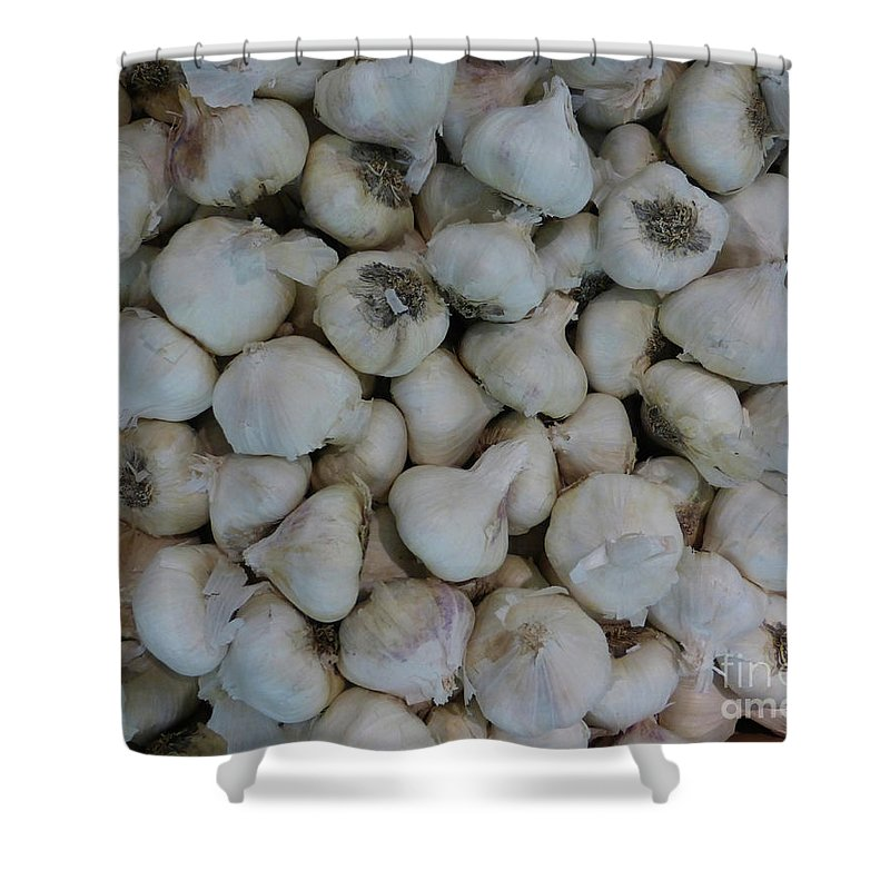 Garlic Shower Curtain featuring the pyrography Garlics by To-Tam Gerwe