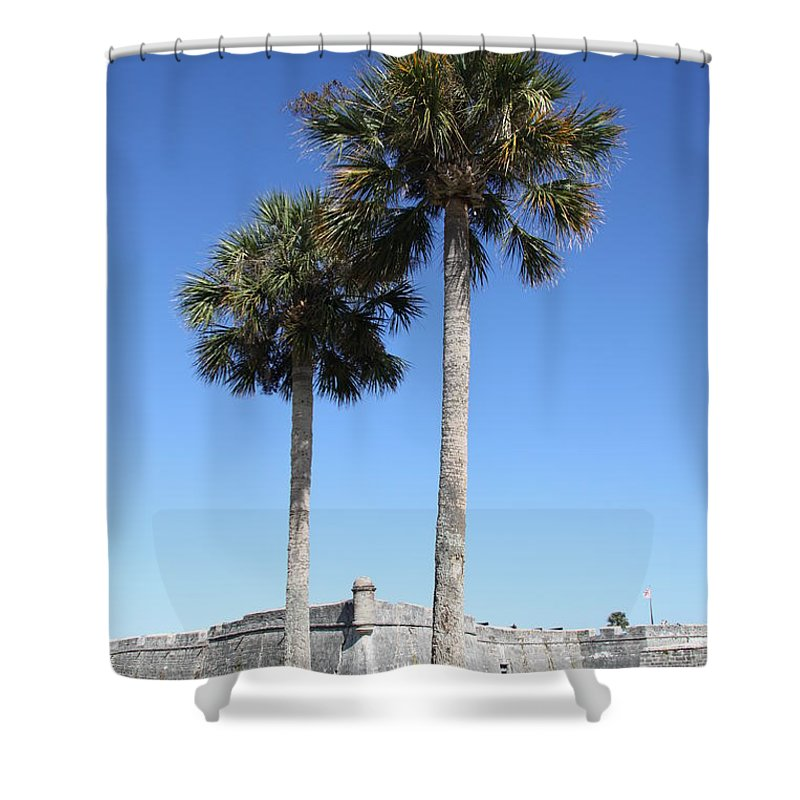 Fort Shower Curtain featuring the photograph Garrita And Palms At The Fort by Christiane Schulze Art And Photography