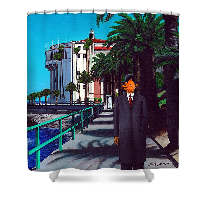 Catalina Shower Curtain featuring the painting Gary Baldie by Snake Jagger