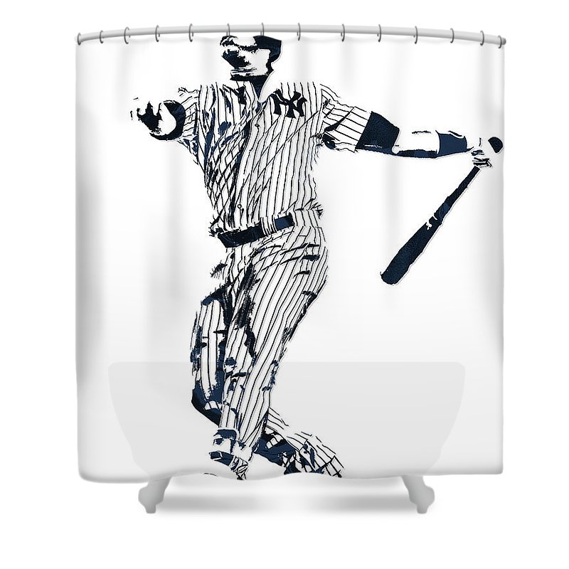 Gary Sanchez Shower Curtain Featuring The Mixed Media New York Yankees Pixel Art 1
