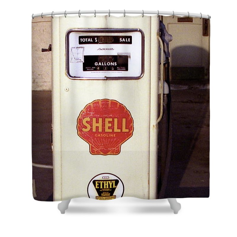 Antique Shower Curtain featuring the photograph Gas Pump by Michael Peychich