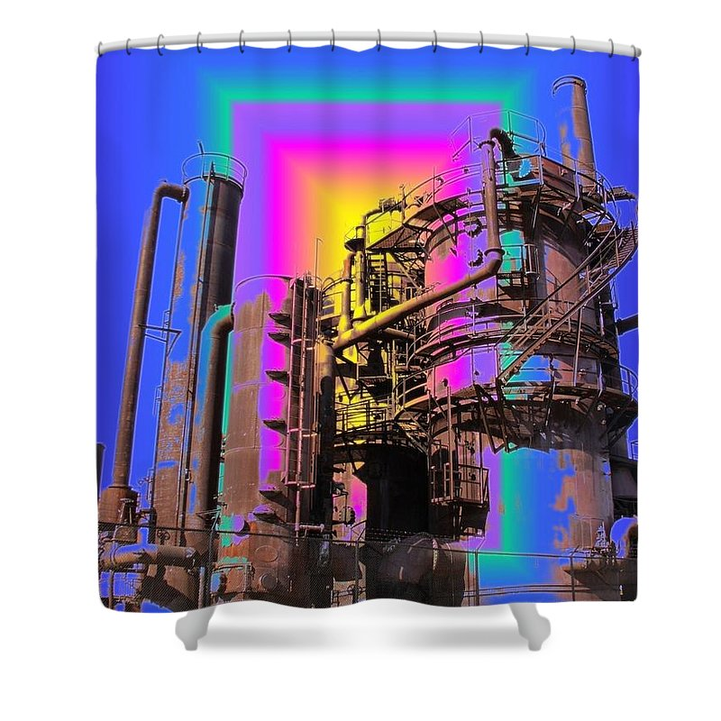 Seatttle Shower Curtain featuring the digital art Gasworks Park 2 by Tim Allen