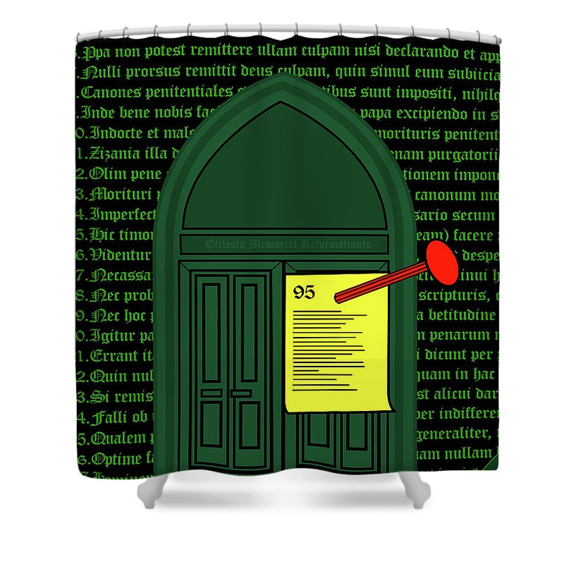 Gate Shower Curtain featuring the mixed media Gate by Asbjorn Lonvig