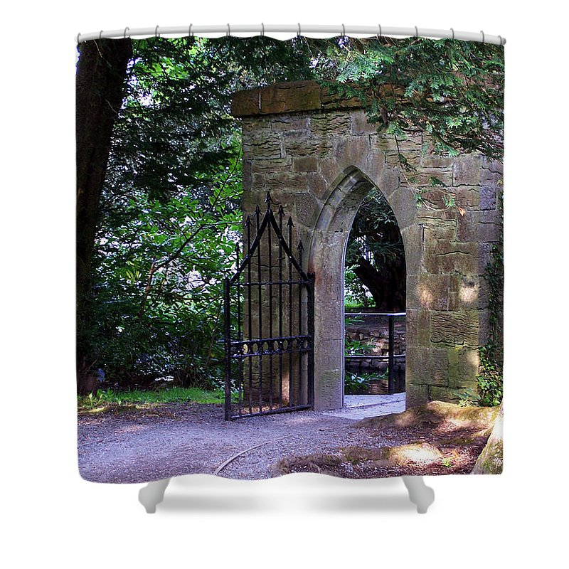 Irish Shower Curtain featuring the photograph Gate At Cong Abbey Cong Ireland by Teresa Mucha
