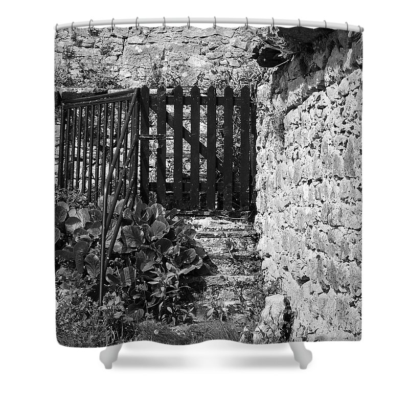 Irish Shower Curtain featuring the photograph Gate At Dunguaire Castle Kinvara Ireland by Teresa Mucha