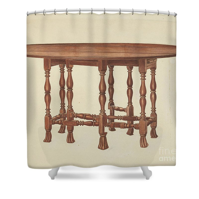 Shower Curtain featuring the drawing Gate Leg Table by Frank Wenger