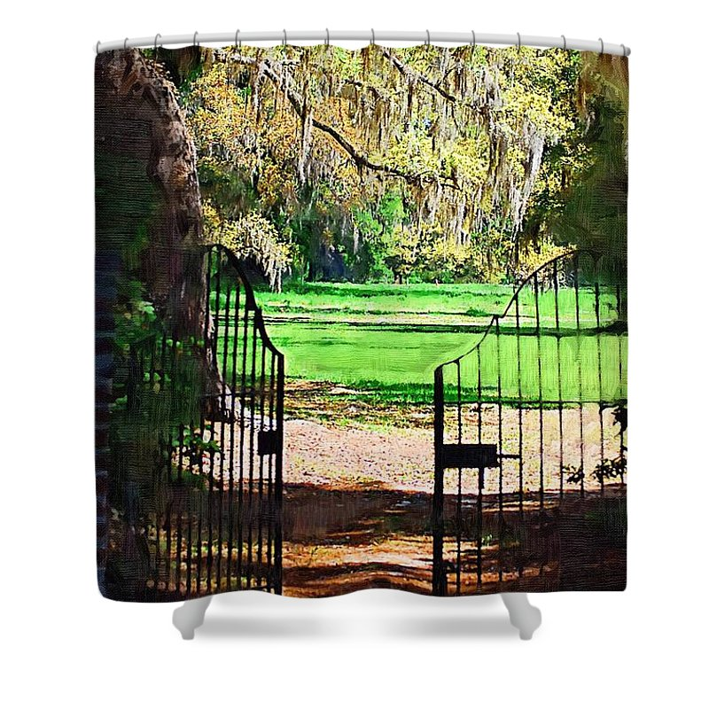 Gate Shower Curtain featuring the photograph Gate To Heaven by Donna Bentley