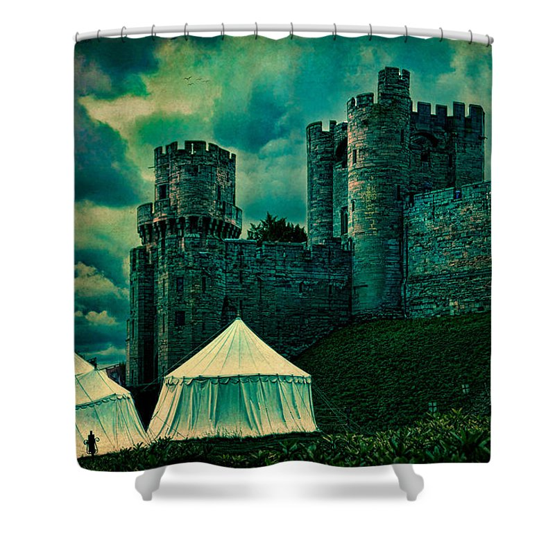 Cloud Shower Curtain featuring the photograph Gate Tower At Warwick Castle by Chris Lord