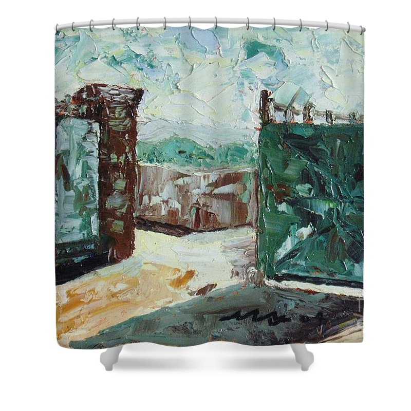 Gate Oil Canvas Shower Curtain featuring the painting Gate2 by Seon-Jeong Kim