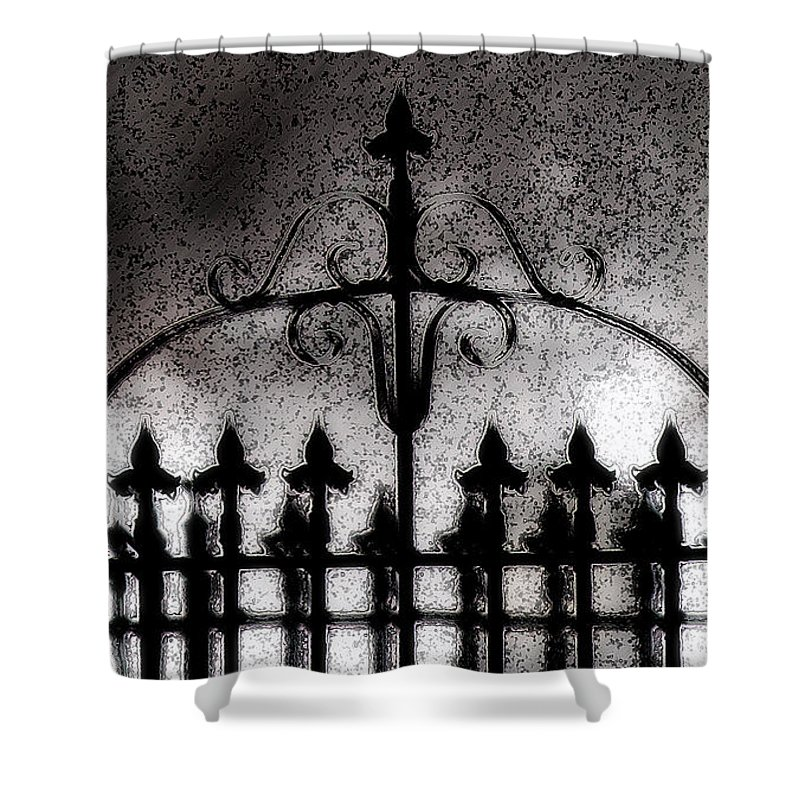 Night Shower Curtain featuring the photograph Gated by Linda Shafer