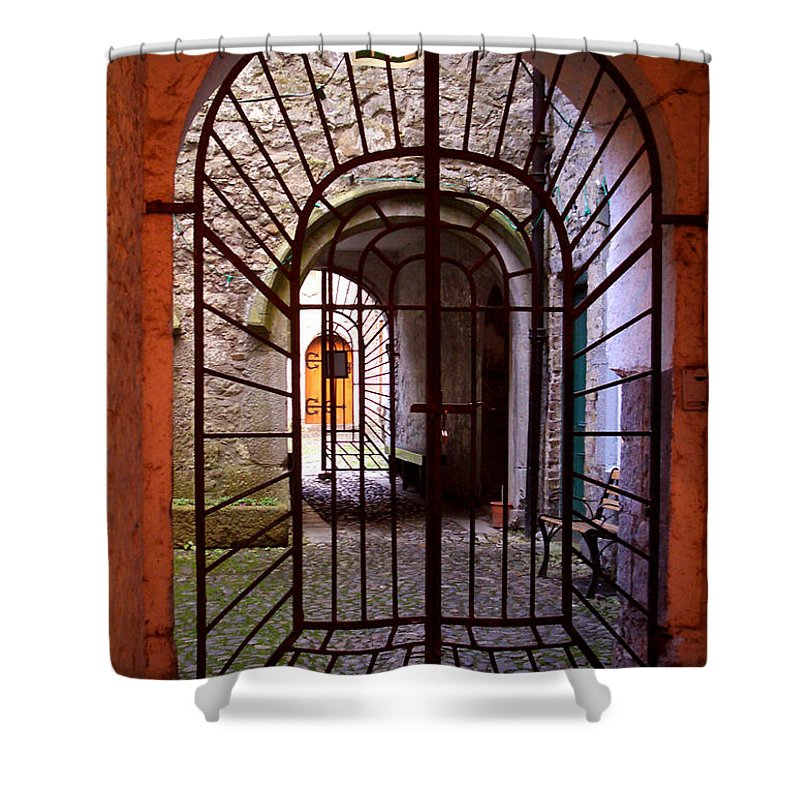 Gate Shower Curtain featuring the photograph Gated Passage by Tim Nyberg