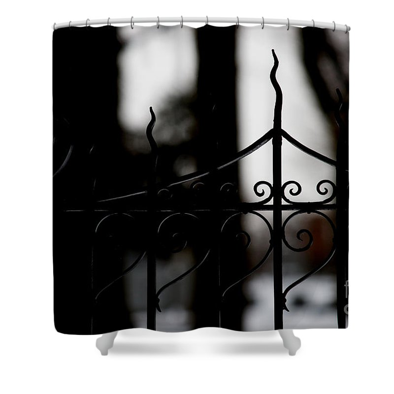 Wrought Iron Shower Curtain featuring the photograph Gated Woods by Linda Shafer