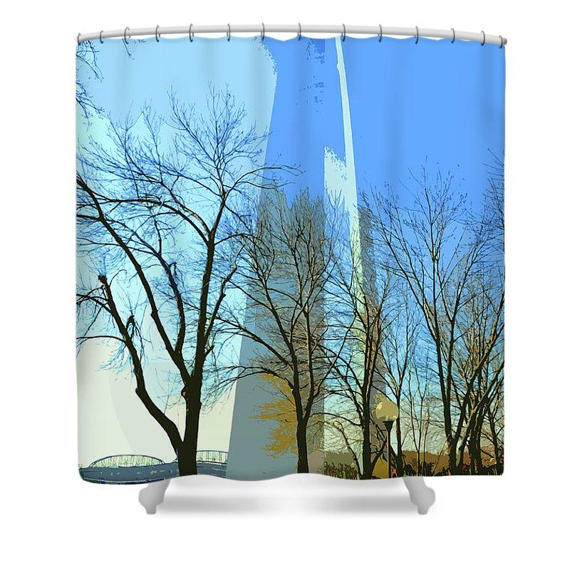Gateway Shower Curtain featuring the digital art Gateway Arch by Norman Coleman III