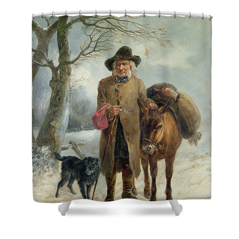 Gathering Shower Curtain featuring the painting Gathering Winter Fuel by John Barker