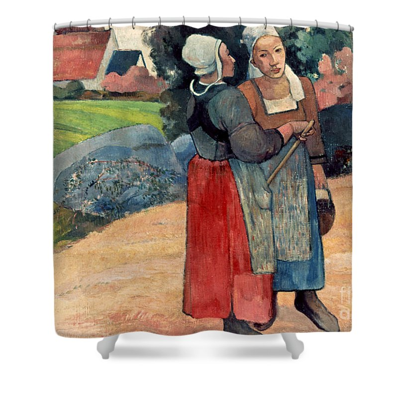 1894 Shower Curtain featuring the photograph Gauguin: Breton Women, 1894 by Granger