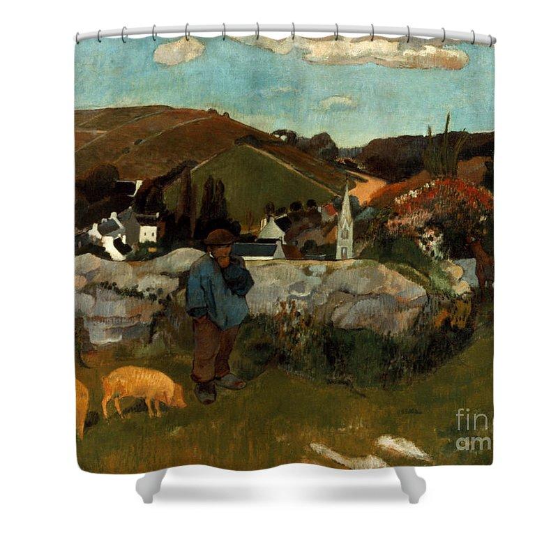 1888 Shower Curtain featuring the photograph Gauguin: Swineherd, 1888 by Granger