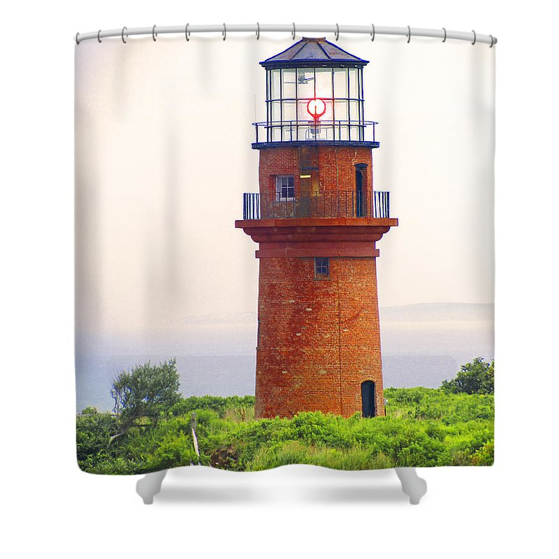 Located At The Township Of Aquinnah (gay Head) Cliffs Shower Curtain featuring the photograph Gay Head Lighthouse by Mark Sellers