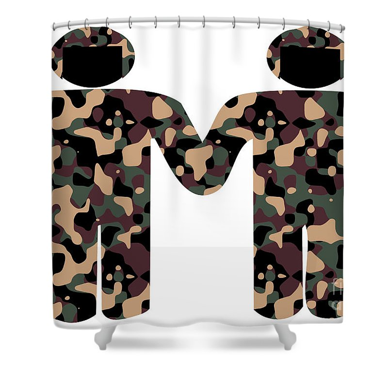 Army Shower Curtain featuring the digital art Gays In The Military by Richard Wareham