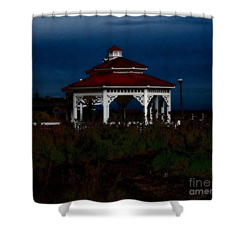 Gazebo Shower Curtain featuring the pyrography Gazebo 22 Fletcher Lake by JudithAnne Monahan