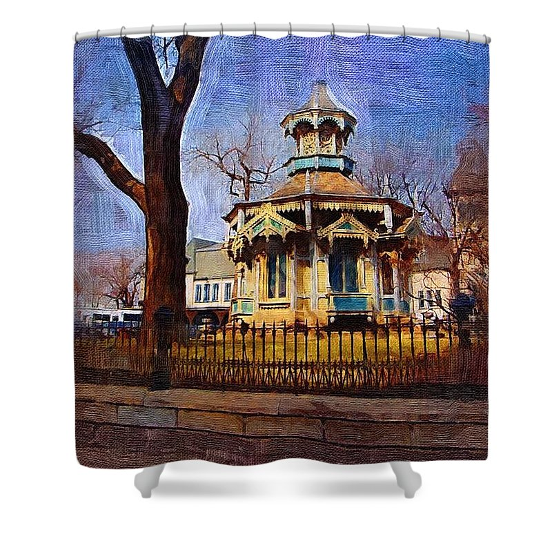 Architecture Shower Curtain featuring the digital art Gazebo And Tree by Anita Burgermeister
