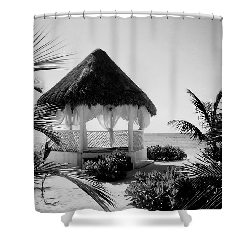 Gazebo Shower Curtain featuring the photograph Gazebo On The Ocean by Anita Burgermeister