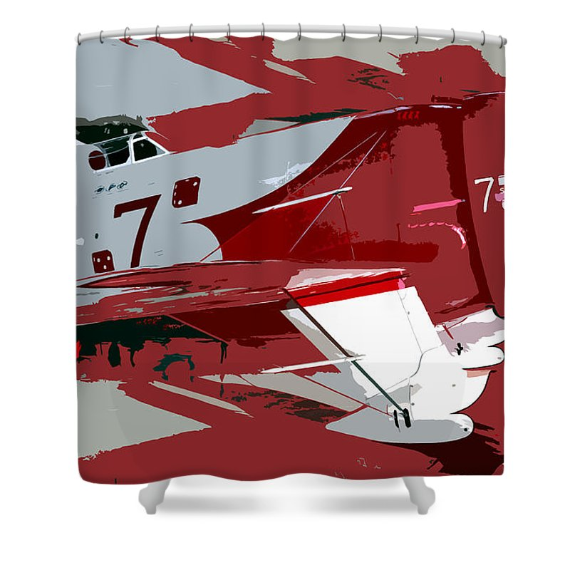 Gee Bee Racer Shower Curtain featuring the painting Gee Bee Racer by David Lee Thompson