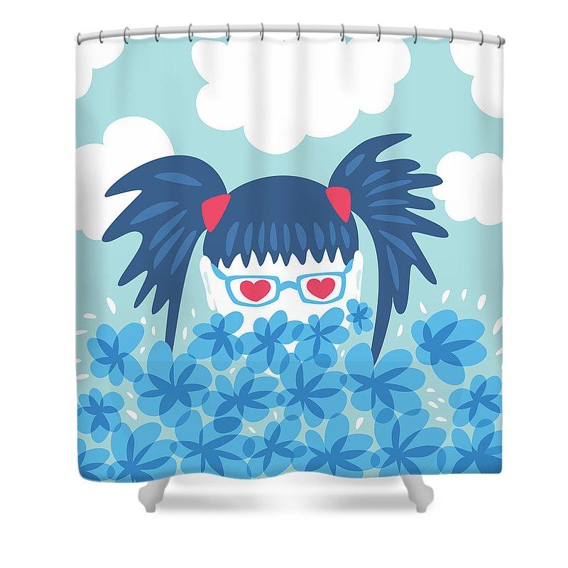 Spring Shower Curtain Featuring The Digital Art Geek Girl Waiting For By Boriana Giormova