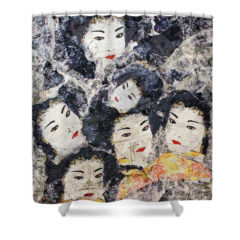Geisha Shower Curtain featuring the mixed media Geisha by Shelley Jones