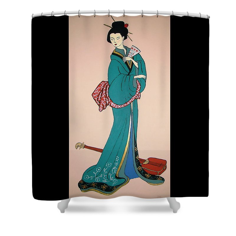 Geisha Shower Curtain featuring the painting Geisha With Guitar by Stephanie Moore