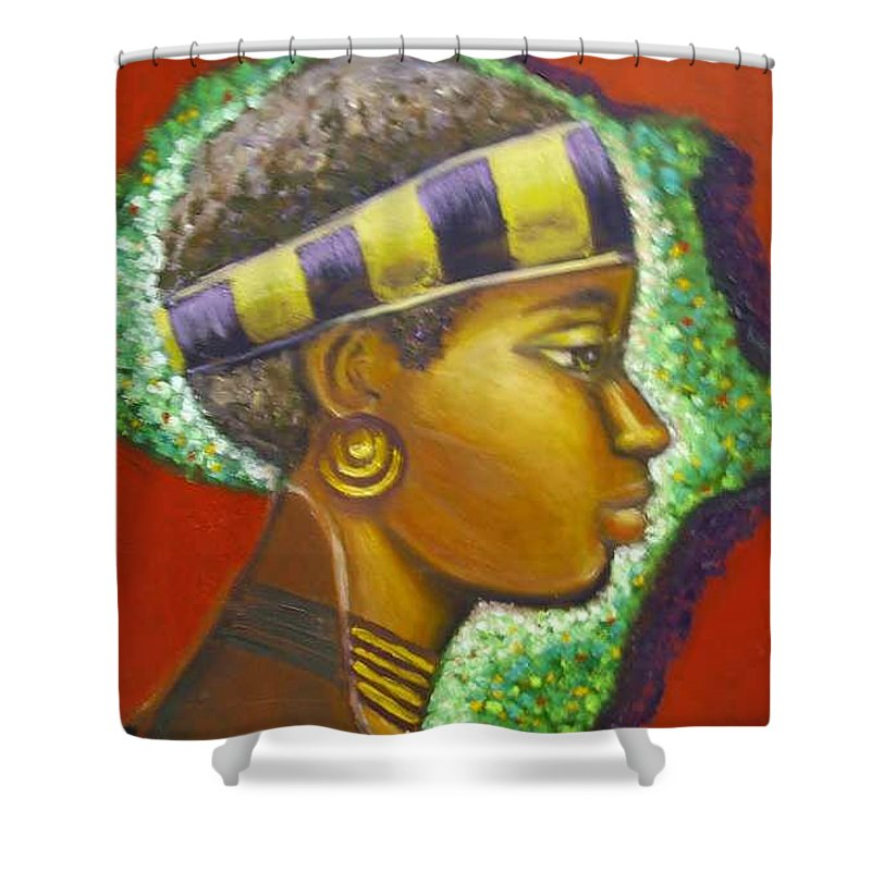 Gem Of Africa Shower Curtain featuring the painting Gem Of Africa by Jan Gilmore