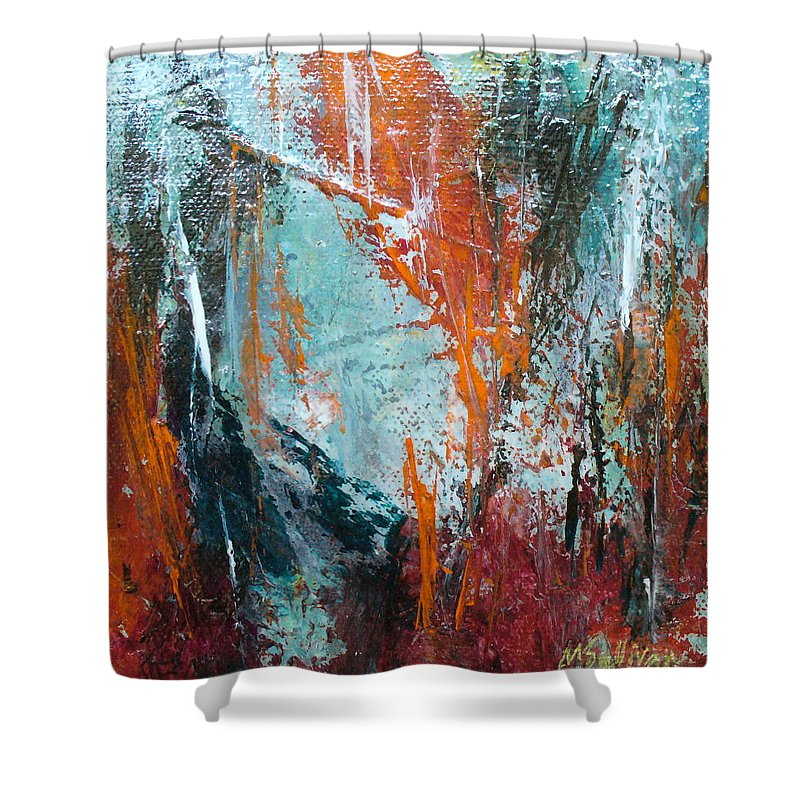 Contemporary Shower Curtain featuring the painting Gemini by Mary Sullivan