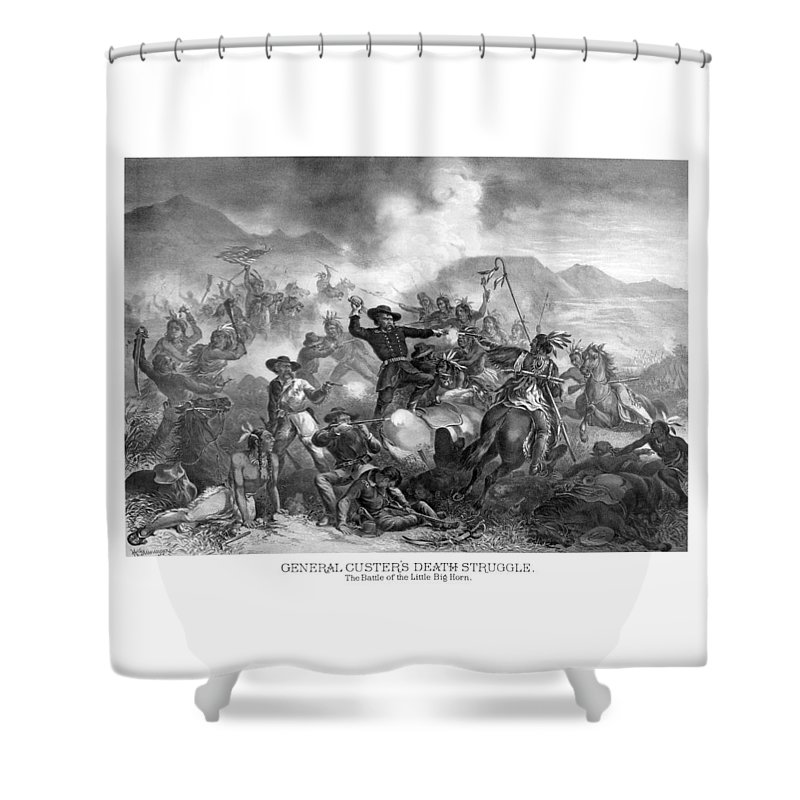 General Custer Shower Curtain featuring the drawing General Custer's Death Struggle by War Is Hell Store