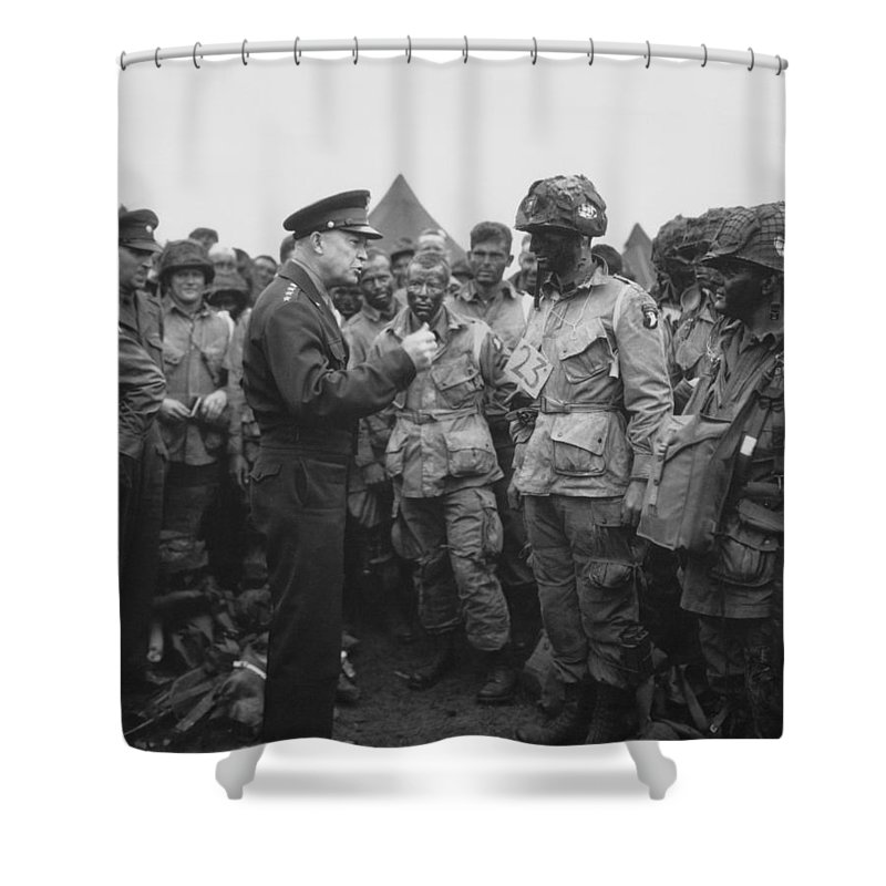 101st Airborne Division Shower Curtain Featuring The P Ograph General Eisenhower On D Day By War